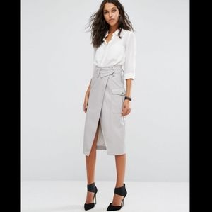NWT ASOS Leather Look Wrap High Rise Midi Skirt